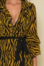 Rochie Sorina petrecuta galben mustar cu imprimeu zebra