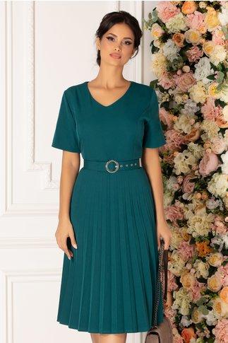 Rochie Sorina verde cu fusta plisata