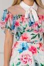 Rochie Stefania alba cu volanase si imprimeuri florale albastre si rosii