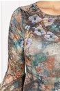 Rochie Stefania conica verde cu imprimeu divers