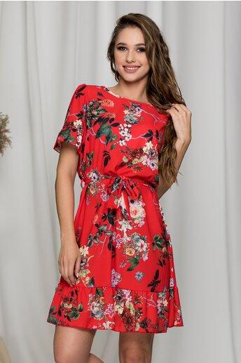 Rochie Stefania rosie cu imprimeu floral