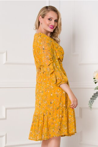 Rochie Stefy galben  mustar cu imprimeuri florale delicate