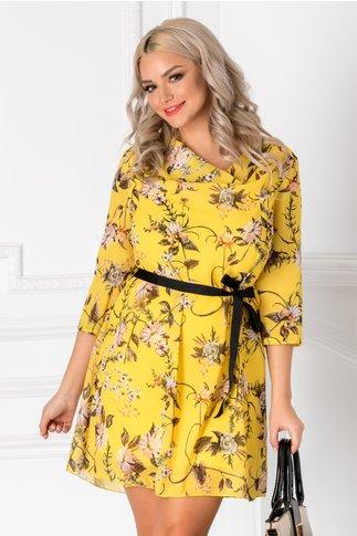 Rochie Stella galbena cu imprimeu floral