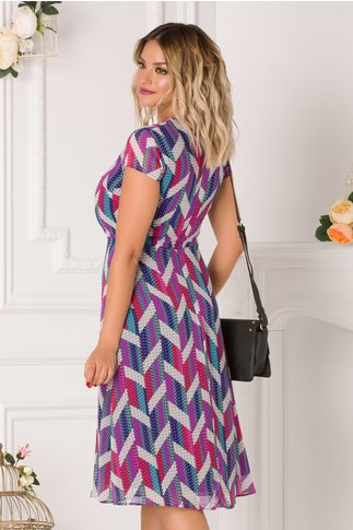 Rochie Stephany cu imprimeu abstract colorat