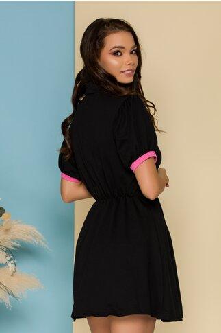 Rochie Stephy neagra cu aplicatii roz