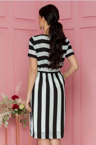 Rochie Stripes cu dungi alb-negru si buzunare functionale