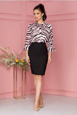 Rochie Tabi cu imprimeu zebra in nuante de roz neon si negru la bust