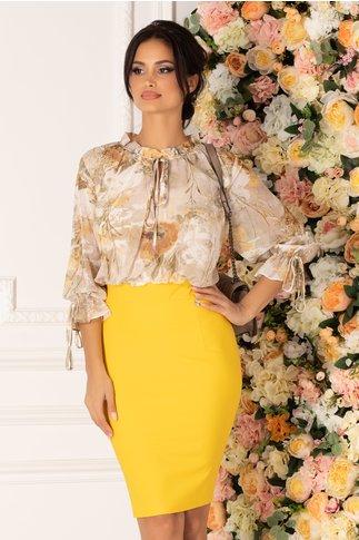 Rochie Tabi galbena cu imprimeu floral in nuante neutre la bust