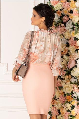 Rochie Tabi roz pal cu imprimeu floral in nuante pastelate la bust