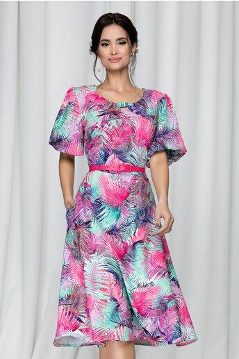 Rochie Tabitha fucsia cu imprimeu tropical