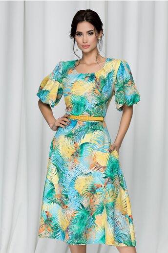 Rochie Tabitha verde cu imprimeu tropical
