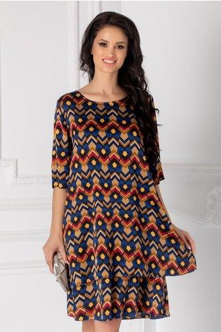 Rochie Tamara albastra cu imprimeuri geometrice colorate