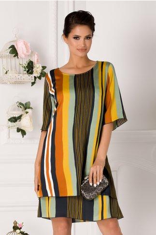 Rochie Tamara cu dungi multicolore