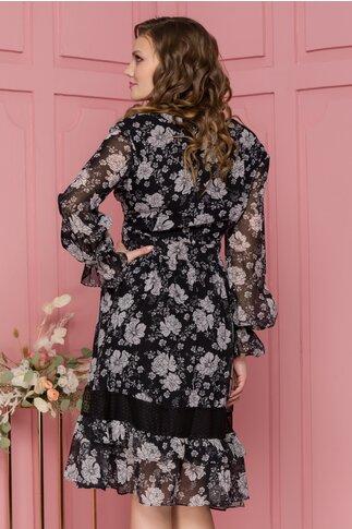 Rochie Tania din voal neagra cu flori gri