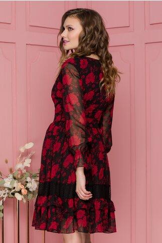 Rochie Tania din voal neagra cu flori rosii