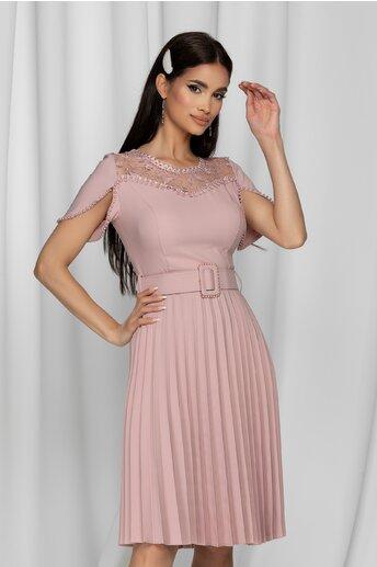 Rochie Tania roz cu dantela la bust si perlute in nuanta rochiei