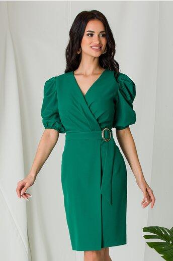 Rochie Tania verde cu umeri bufanti si design petrecut