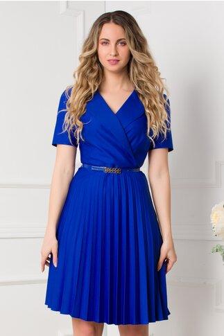 Rochie Tanya albastra clos plisata