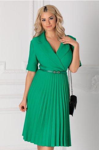 Rochie Tanya verde clos plisata