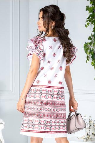 Rochie Tao alba scurta dreapta cu imprimeu traditional rosu si negru