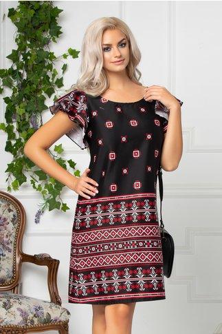 Rochie Tao neagra scurta dreapta cu imprimeu traditional rosu si alb
