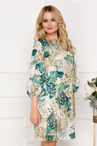 Rochie Tara bej cu imprimeu floral verde