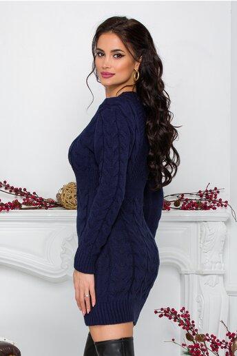 Rochie Tara bleumarin din tricot cu design impletit