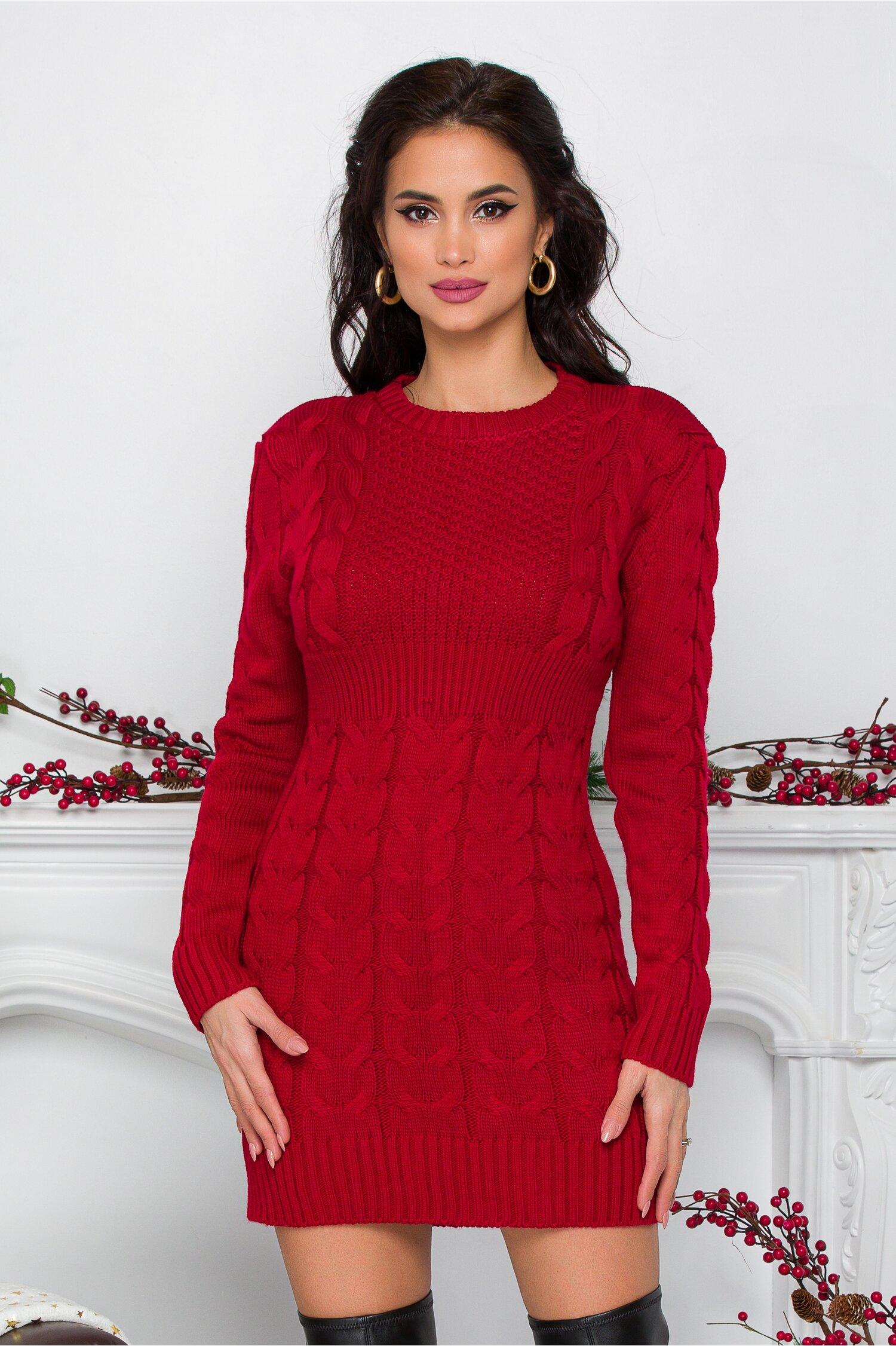 Rochie Tara bordo din tricot cu design impletit