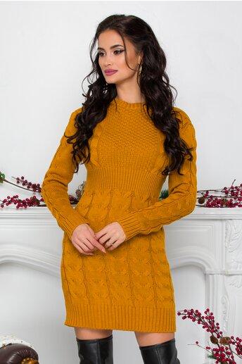 Rochie Tara galben mustar din tricot cu design impletit