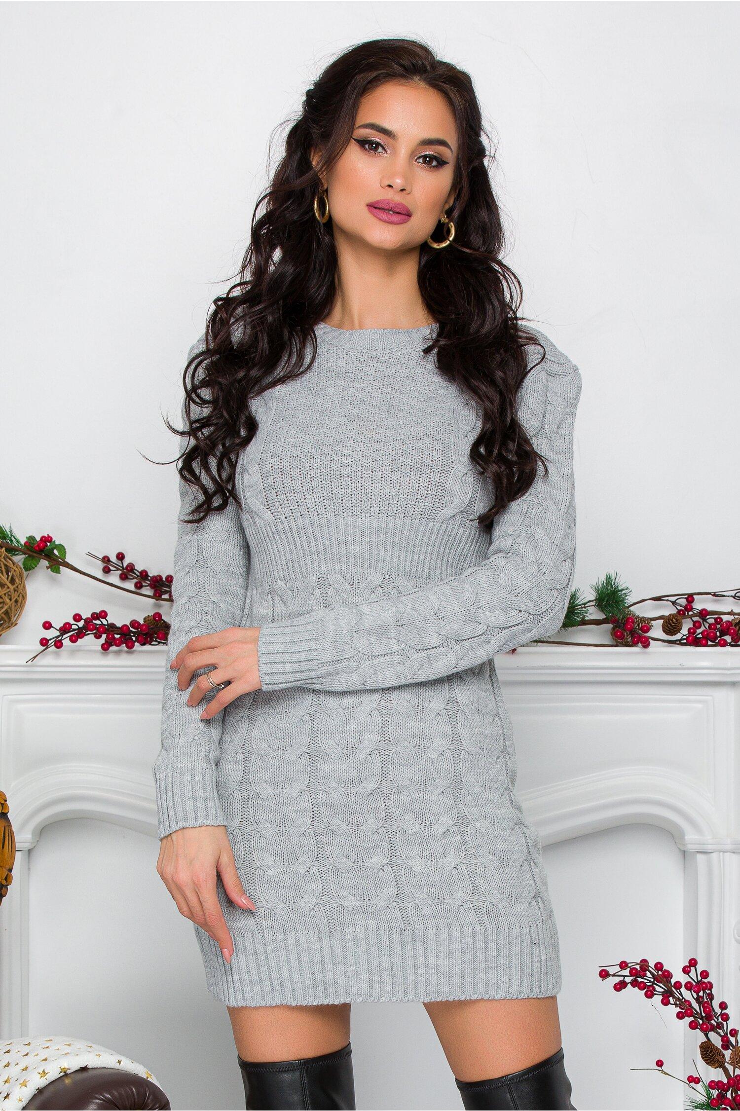 Rochie Tara gri din tricot cu design impletit