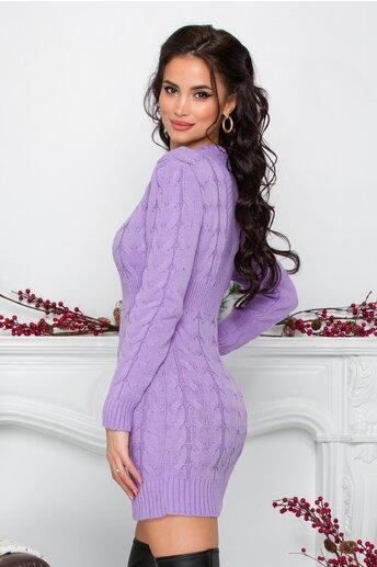 Rochie Tara lila din tricot cu design impletit