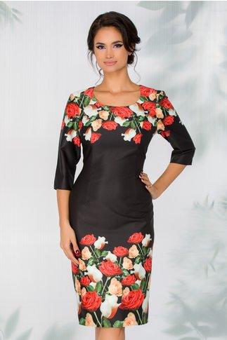 Rochie Tara neagra cu trandafiri multicolori