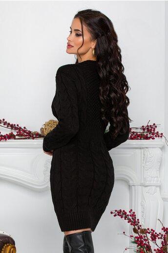 Rochie Tara neagra din tricot cu design impletit
