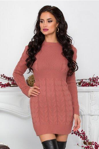 Rochie Tara roz prafuit din tricot cu design impletit