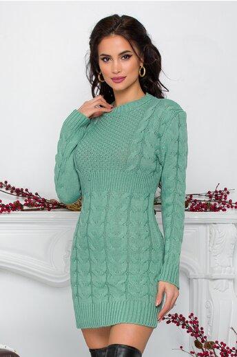 Rochie Tara verde mint din tricot cu design impletit