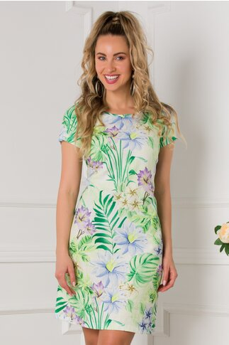 Rochie Tara vernil cu imprimeu tropical