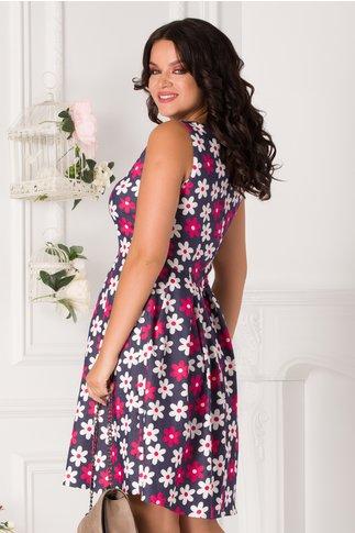 Rochie Tasha clos bleumarin cu flori fucsia si albe