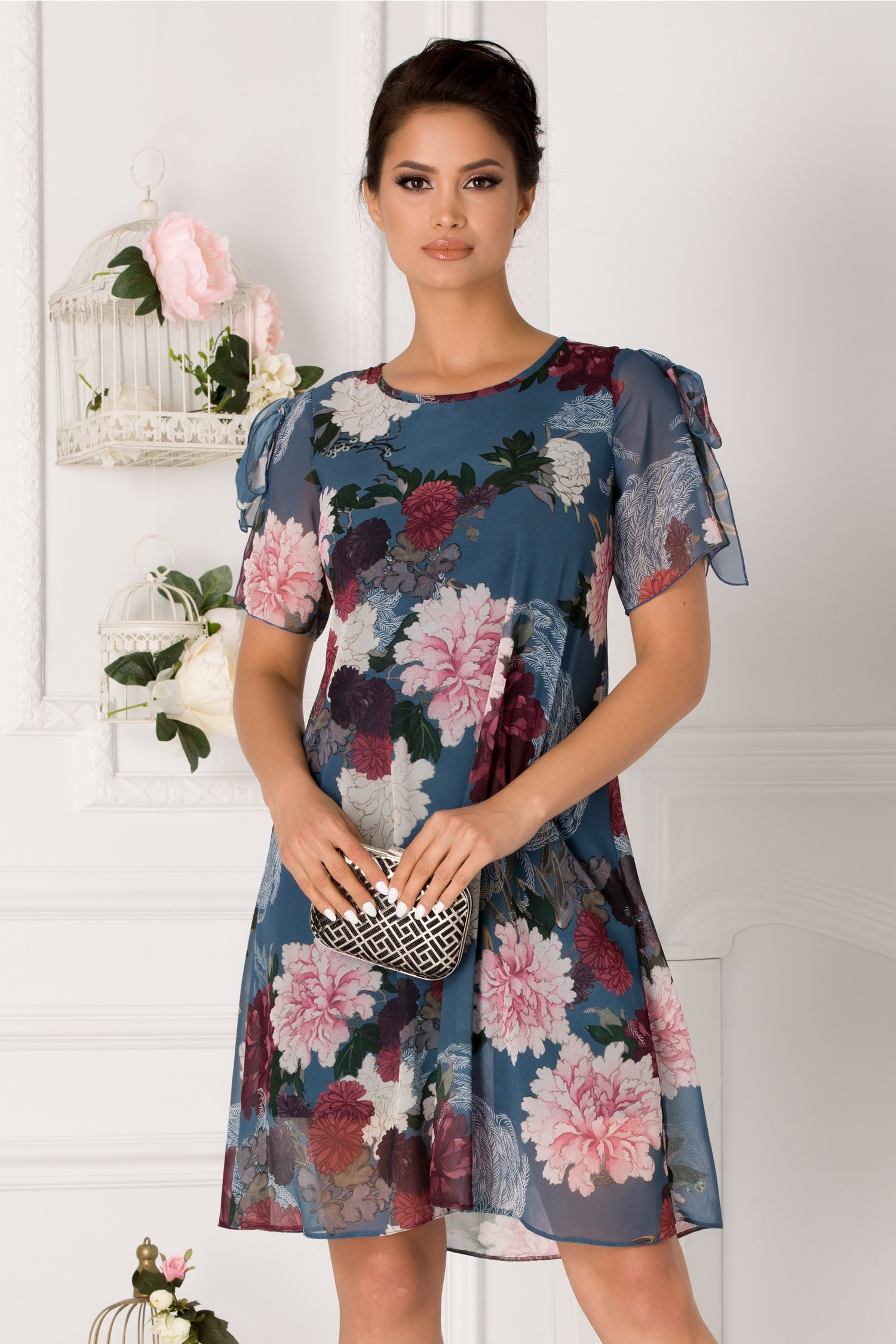 Rochie Taylor albastru petrol cu imprimeu floral