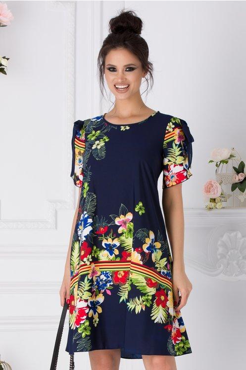 Rochie Taylor bleumarin cu imprimeu floral