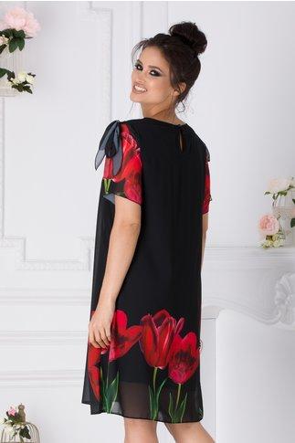Rochie Taylor neagra cu imprimeu floral
