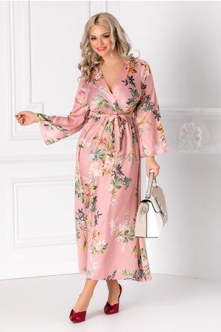 Rochie Taylor roz cu cordon in talie si imprimeu floral