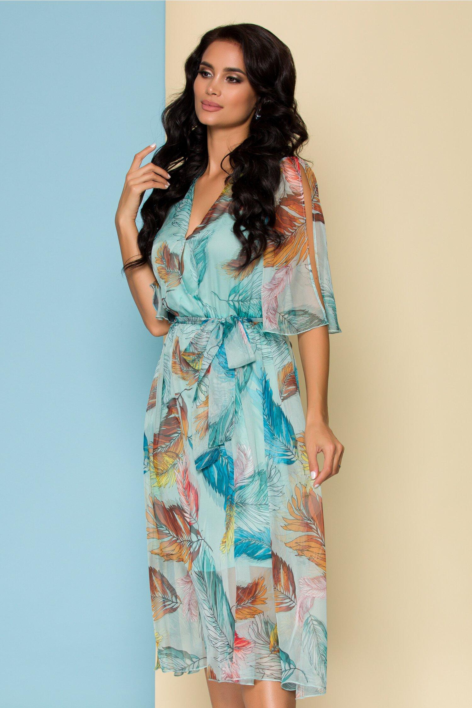 Rochie Tazara bleu cu imprimeu floral