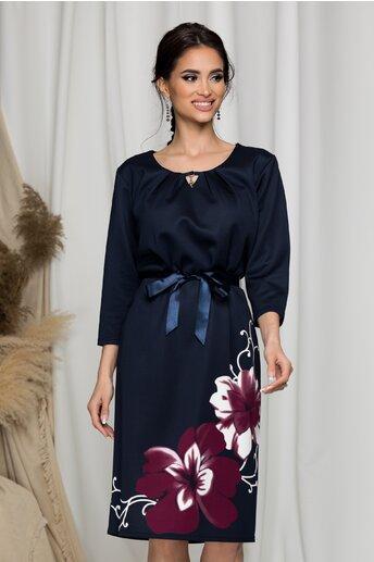 Rochie Terra bleumarin cu imprimeu floral maxi magenta