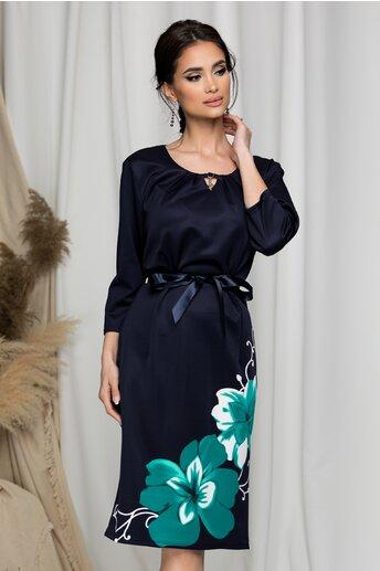 Rochie Terra bleumarin cu imprimeu floral maxi turcoaz