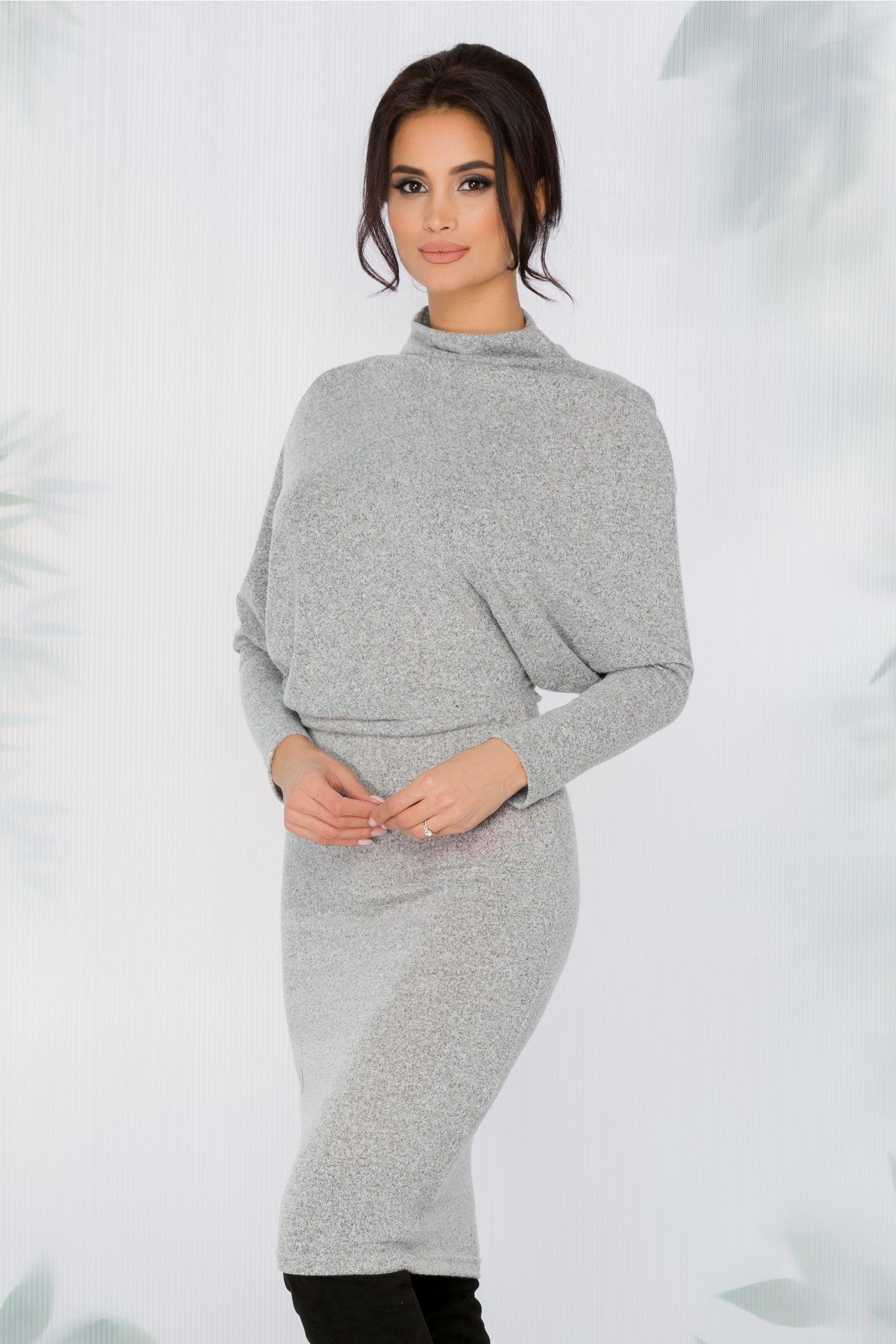 prețuri de vânzare cu amănuntul moda designerului vânzător en-gros Rochie Midi Gri Casual Guler La Baza Gatului