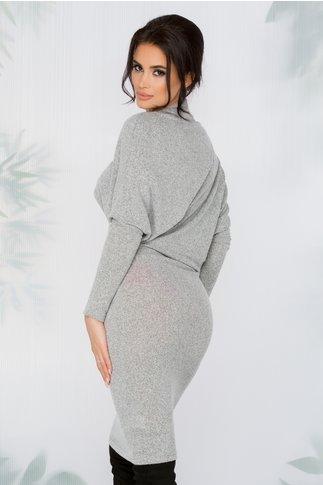 Rochie Tesa gri asimetrica din tricot