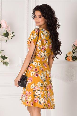 Rochie Tessa galben mustar cu imprimeu floral