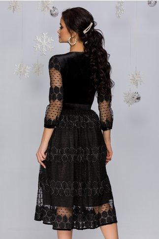 Rochie Tessa neagra din catifea si dantela cu insertii din fir lurex