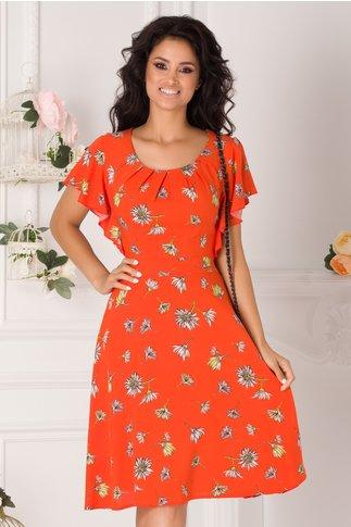 Rochie Tessa orange cu imprimeu floral
