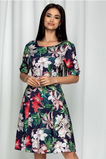 Rochie Theo bleumarin din voal cu imprimeu floral